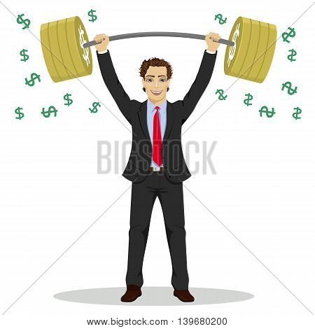 Young businessman lifts up heavy barbell with dollar sign. Vector illustration for business financial strength concept.