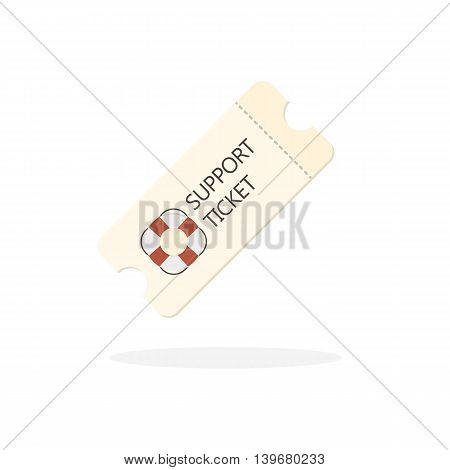 Vector Flat Icon of Technical Support Ticket