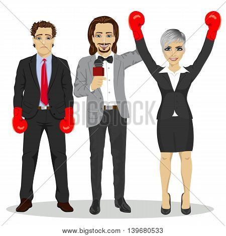 referee holding winner businesswoman in boxer gloves, near standing sad loser businessman over white background