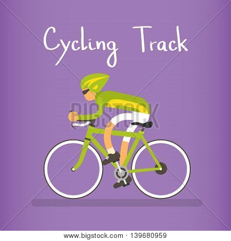 Cycle Racing Athlete Sport Competition Flat Vector Illustration
