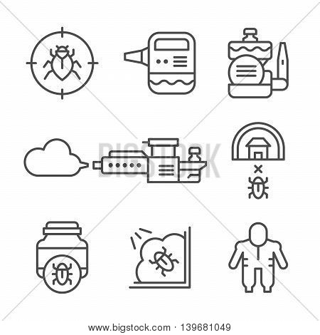 Set line icons of disinfestations isolated on white. Vector illustration