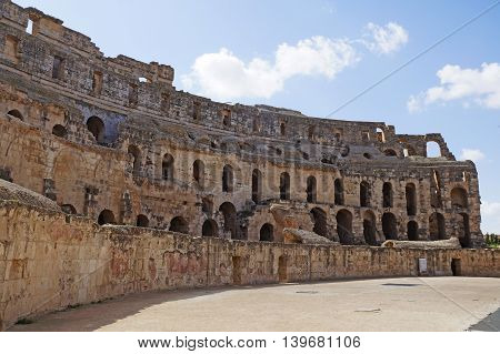 The ruins of the Roman amphitheater in Tunisia