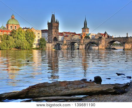 Czech Republic and attractions of Prague. Panorama of the city.