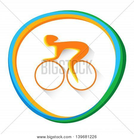 Cycling Track Sportsman Sport Competition Icon Vector Illustration
