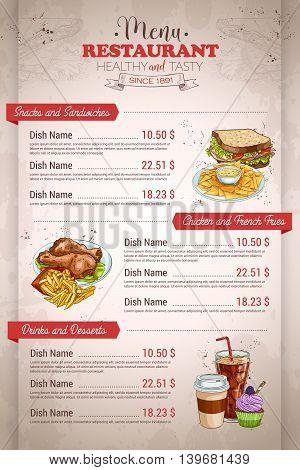 Restaurant vertical color menu design on retro background