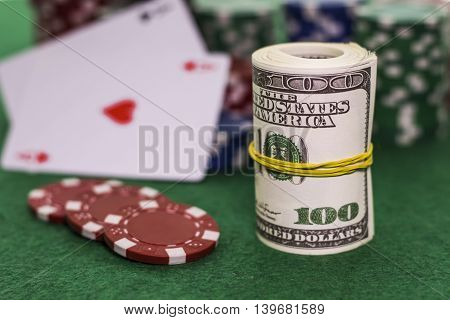 Poker game with a lot of dollars