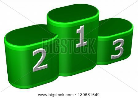 Winners podium with numerals isolated on white background. 3D rendering.