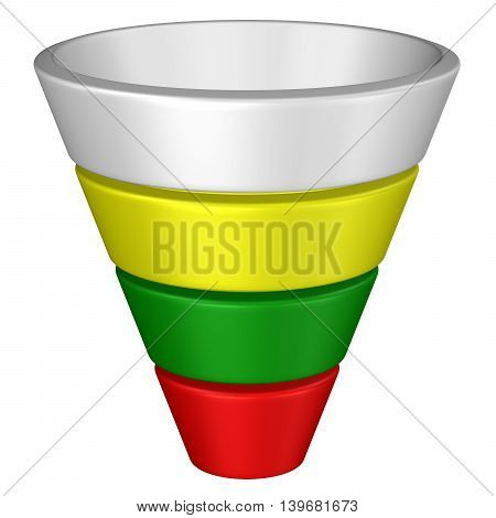 Concept: purchase funnel isolated on white background. 3D rendering.