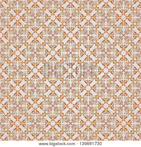 Seamless floral patterns of brown henna on the beige background