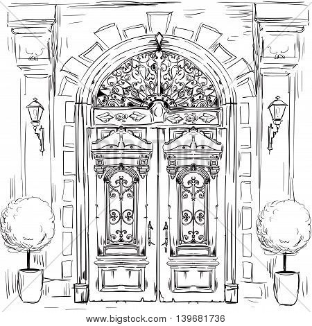 illustration with sketch of old doors - vector illustration