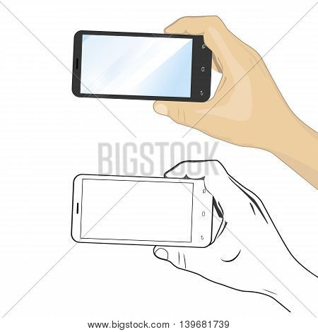 Hand-drawn black and white and color illustration of the same smartphone in hand on white background