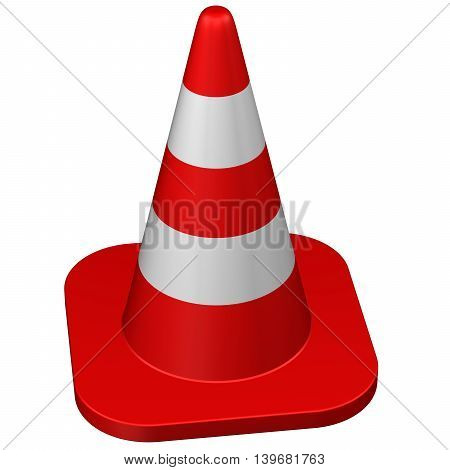 Traffic cone isolated on white background. 3D rendering.