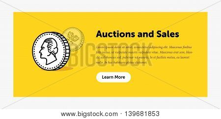 Auction illustration. Old ancient coin. Announcement about new bids. Web banner. Flat style design
