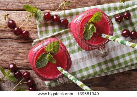 Homemade Cherry Smoothie With Mint In Glass Jar Macro. Horizontal Top View