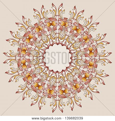 Round flower pattern of brown henna on beige background