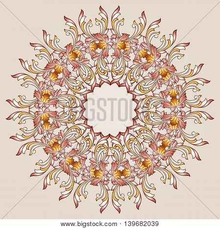 Round flower pattern of brown henna on beige background