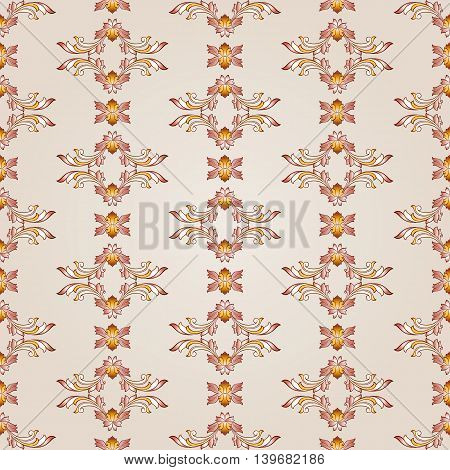 Floral pattern of brown henna on beige background