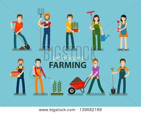 Farming, gardening icon set. People at work on the farm. Vector illustration