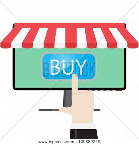 Make online purchases. Buy with internet computer and sale vector illustration