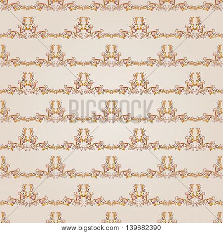 Seamless gorizontal floral pattern of brown henna on beige background