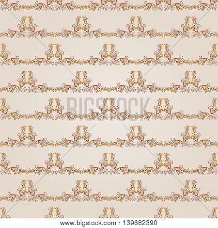 Seamless gorizontal floral pattern of brown henna on beige background