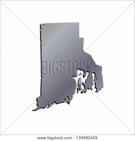 3D Rhode Island (USA) Aluminium outline map with shadow