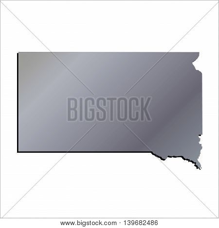 3D South Dakota State Aluminium outline map with shadow
