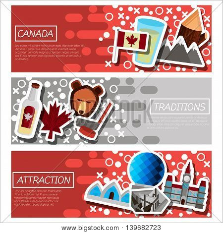 Set of Horizontal Banners about Canada. Vector illustration, EPS 10