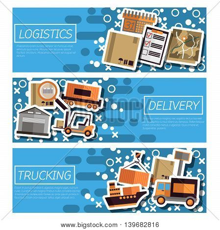 Set of Horizontal Banners about logistics. Vector illustration, EPS 10