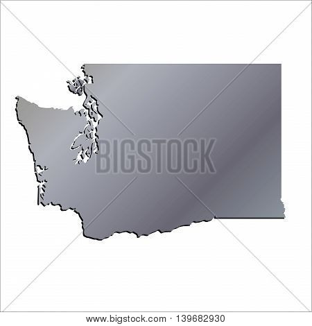 3D Washington (USA) Aluminium outline map with shadow