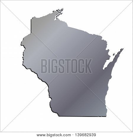 3D Wisconsin (USA) Aluminium outline map with shadow