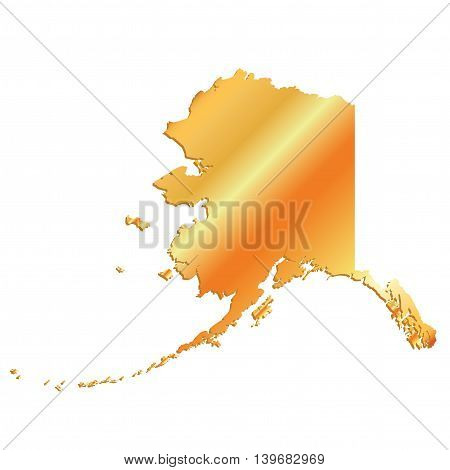 3D Alaaska (USA) Gold outline map with shadow