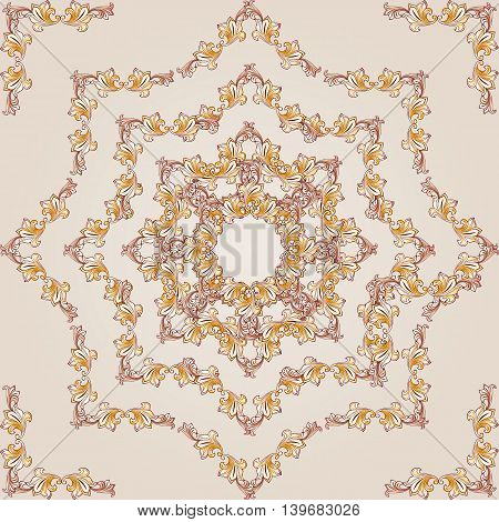 Square flower pattern of brown henna on beige background