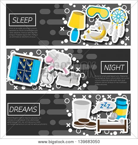 Set of Horizontal Banners about Sleep time. Vector illustration, EPS 10