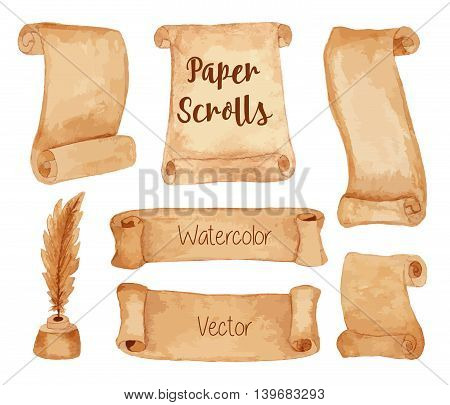 Set of hand painted watercolor ancient paper scrolls and pen feather in the inkwell. Grunge banners and scrolls. Antique objects design elements isolated on a white background. Raster illustration.