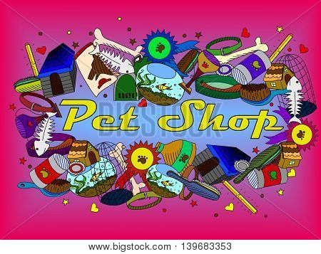 Vector line art Doodle set of cartoon characters and objects pit shop.