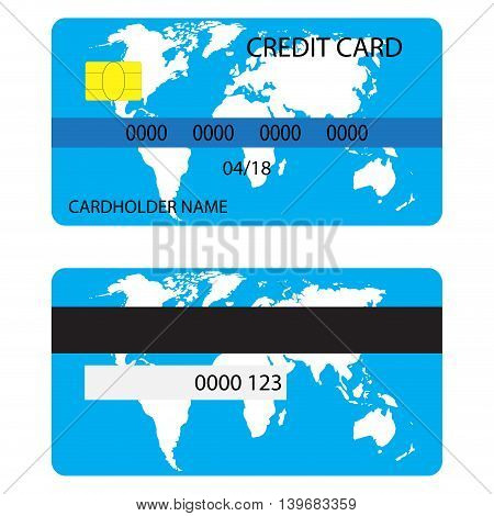 Credit card with world map. Credit card isolated money card for shopping vector illustration