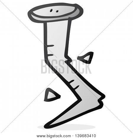 freehand drawn cartoon bent nail