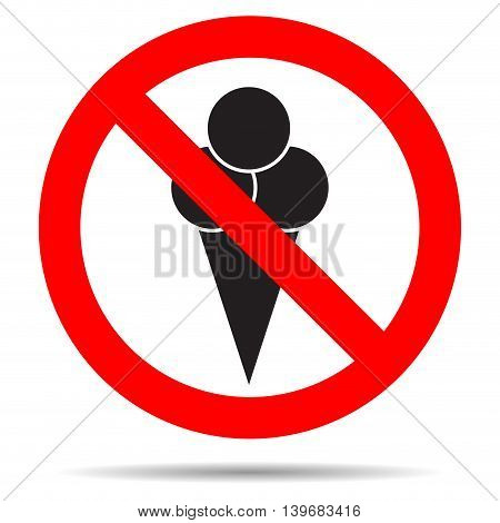 Ice cream ban. Stop enter with food forbidden and prohibition icon emblem. Vector illustration