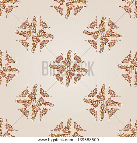 Seamless foliate pattern of brown henna on the beige background