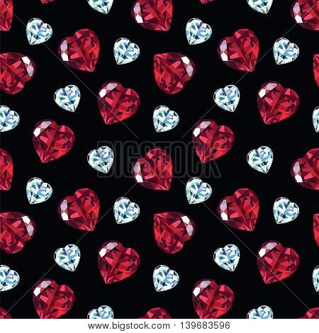 Seamless pattern of rubies and diamonds in the shape of heart. Vector illustration.