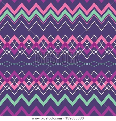 Tribal Boho Seamless Pattern with Rhombus. Ethnic Geometric Ornament. Boho Vector Pattern. Fabric, Wallpaper and Wrapping Texture.