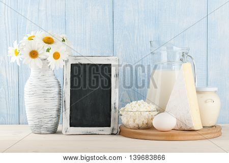 Assorted dairy products on the wooden table
