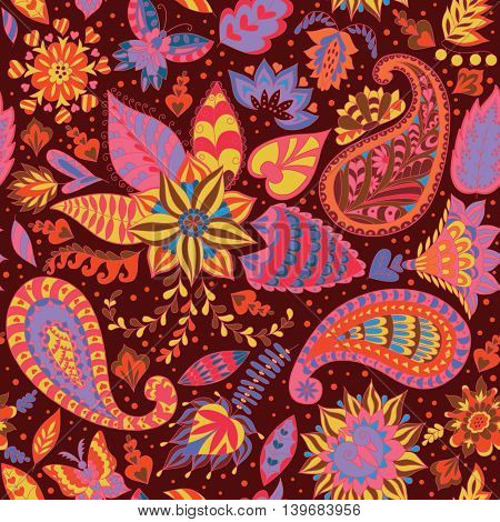 Seamless Abstract Floral Pattern with Paisley. Vector Fashion Ornament for Fabric and Wrapping Paper.