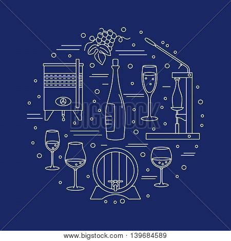 Winery icons arranged in circle composition isolated on blue background. Winemaking wine tasting template for banner flyer t shirt book cover. Winery symbols in line style. Vector illustration.