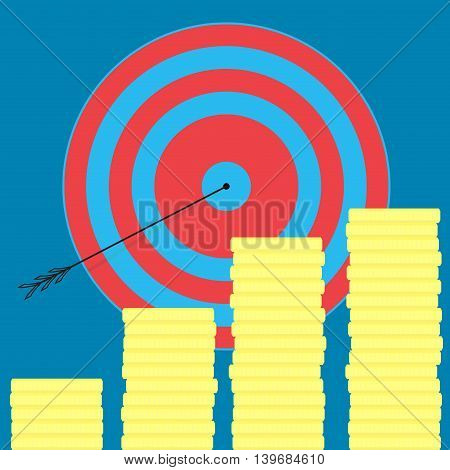 Achieving the goal money and wealth. Achievement and success target goal setting and business success vector illustration