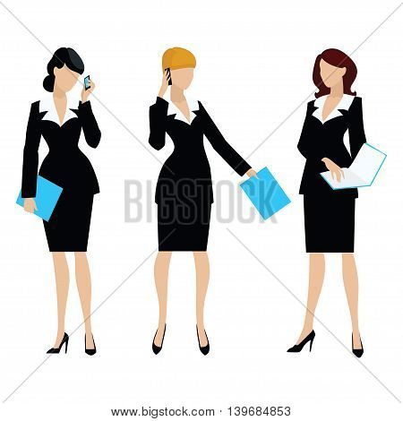 Three business womans with blue folder in hands. Vector illustration.