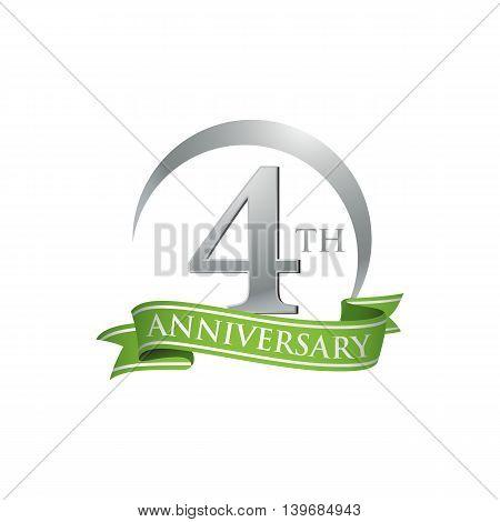 4th anniversary green logo template. Creative design. Business success