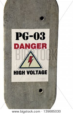 A sign warns of the dangers of concrete slab with a sign warning of the danger on a white background