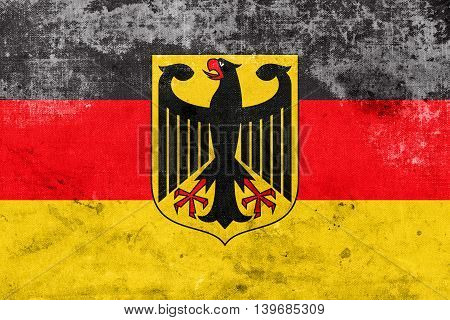 Flag Of Germany With Coat Of Arms, With A Vintage And Old Look